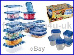 New 30pc Clear Plastic Containers Airtight Food Storage Box Tubs Lunch Picnic
