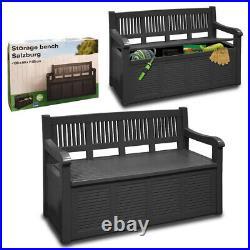 Outdoor Garden Bench Patio Furniture Storage Plastic Cushion Box Waterproof Seat
