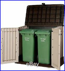 Outdoor Garden Patio Storage Box Container Chest, Large Plastic Mini Shed Unit