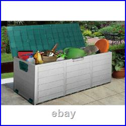 Outdoor Garden Plastic Storage Seat Utility Chest Cushion Shed Box Tools Toys Ne