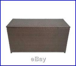 Outdoor Garden Storage Chest Large Brown Rattan Waterproof Box 120Cm Indoor New