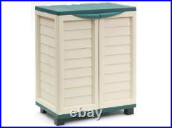 Outdoor Garden Storage Cupboard 2 Door Cabinet 2 Shelves Heavy Duty Plastic Unit