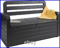 Outdoor & Indoor Storage Box Bench Seat 270L Garden Chest Plastic Furniture