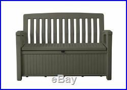 Outdoor Plastic Garden Storage Bench Box Dark Brown Waterproof Patio Seat Chair