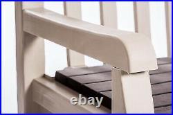 Outdoor Plastic Garden Storage Bench Seat Box Beige Waterproof Patio Chair Home