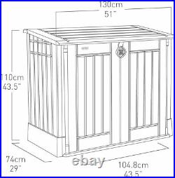 Outdoor Plastic Garden Storage shed Box Beige Brown Keter Store It Out Midi 845L