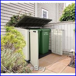 Outdoor Shed Storage Box Garden Wheelie Bins Plastic Floor Cupboard Patio Tools