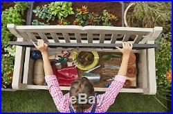Outdoor Storage Patio Bench Garden Deck Box Furniture Seat Beige And Brown New