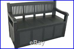 Outdoor Waterproof Garden Seat Bench Storage Box Plastic Container Grey 280L