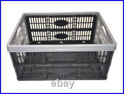 Pack Of 10 Plastic Fold Flat Stackable Storage Folding Crates Boxes 32 Litre