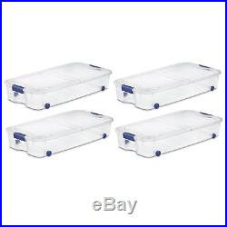 Pack of 4 Wheeled Under Bed Storage Latch Bin Boxes Organizer Box 66Qt Container