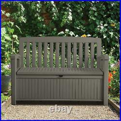 Plastic Brown Garden storage box Bench Large Waterproof Outdoor Patio container
