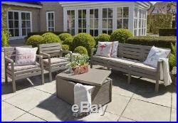 Plastic Garden Furniture 5 Seater Sofa Set Resin 2 Armchairs Storage Table Box