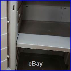Plastic Outdoor Garden Storage Box 4 Shelf Utility Store Chest Locking Lid New