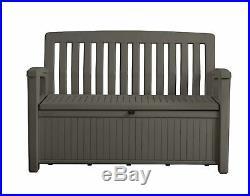 Plastic Storage Box Garden Bench Grey Waterproof Outdoor Patio Seat