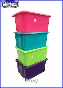 Plastic Storage Box Tub Container Boxes With Or Without Lid, Toy Box, Colourful