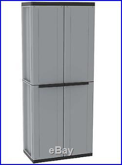 Plastic Storage Cabinet Garden Outdoor Utility Cupboard Garage Sheds Shelves Box
