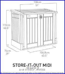 Plastic Store it Out Midi Garden Storage Box Wheelie Bins Bike Tool Shed