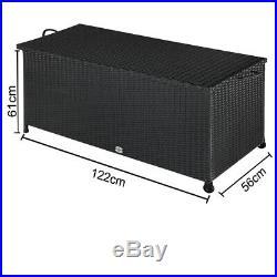 Poly Rattan Cushion Box Garden Storage Box Garden Chest Large Black Patio Trunk