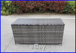Rattan Plastic Grey Garden Wicker Storage Box Cushions Waterproof Chest Brown