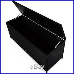 Rattan Storage Box Outdoor Plastic Garden Chest Bench Patio Waterproof Container