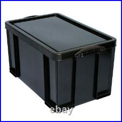 Really Useful Storage Box Plastic Recycled Robust Stackable 64 Litre Black