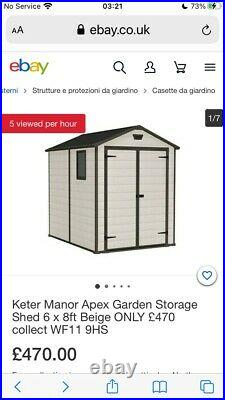 Shed Keter manor apex Garden storage shed 6' x 8'. £470. Brand New in Box