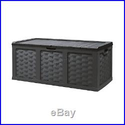 Starplast Garden Rattan Plastic Storage Chest Shed Box Sit-On Lid Utility 535L