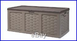 Starplast Garden Rattan Plastic Utility Storage Chest Box Sit-On Piston Lid 634L