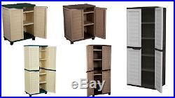 Starplast Plastic Garage Outdoor Garden Tools Utility Cabinet Box 2 or 4 Shelves