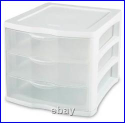 Sterilite ClearView Compact Portable 3 Storage Drawer Organizer Cabinet (8 Pack)