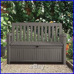 Storage Bench Box Plastic Outdoor Patio Garden Storage Locking Mechanism