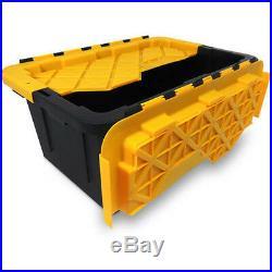 Storage Bins 15-Gallon Tough Tote 6 x Plastic Boxes Home Warehouse Black/Yellow