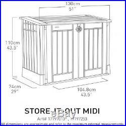 Storage Box Garden Outdoor Container Weather Resistant Lockable Beige Maroon New