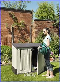 Storage Shed Garden Plastic Outdoor Store Out Patio Box Wheelie Bike Beige Brown