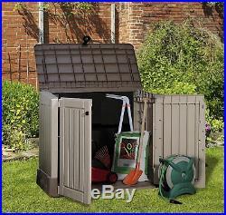 Storage Shed Garden Plastic Outdoor Store Out Patio Box wheelie bike Beige/Brown