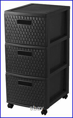 Sundis Tower Country Storage Container on Wheels 3 Drawers Rattan Look 38x30x65
