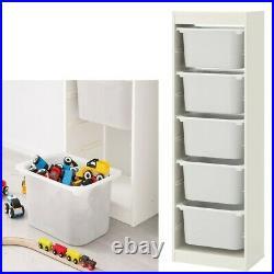 TROFAST Storage Combination for Children's Play Plastic Boxes White 46x30x145cm