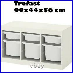TROFAST Storage Combination for Kids Play Plastic Boxes White 99x44x56cm