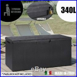 Toomax 340L Outdoor Garden Storage Box 2 Person Sit On Bench 124 x 55 x 56cm