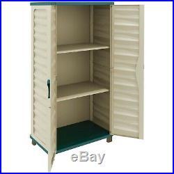 Utility Cabinet Outdoor Garden Plastic Storage Unit Garage Tool Box Beige/Green