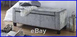 Verona Ottoman Storage Box Crushed Velvet Bench Seat Foot Stool Grey