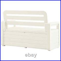 VidaXL Garden Storage Bench Plastic White Outdoor Cushion Deck Box Organiser