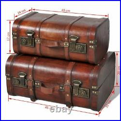 Vintage Treasure Chest Wood Storage Chest Trunk Box Coffee Table Large Brown