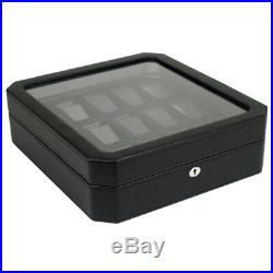 WOLF Windsor 15 Piece Watch Box Storage Case (Black) 4585029 Free US Shipping