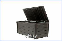 XL 454ltr Garden Patio Summerhouse Storage Box Bench Organiser Wood Effect 02