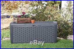 XL 511ltr Garden Patio Summerhouse Storage Box Bench Organiser Rattan Effect 02