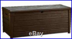 XL Keter Garden Storage Box 454ltr Bench Organiser Wood Effect