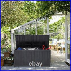 XL Storage Garden Cushion Toy Chest Trunk 430L Plastic Shed Box Tools Waterproof